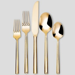 5pc Stainless Steel Izon Mirror Flatware Set Gold - Project 62™