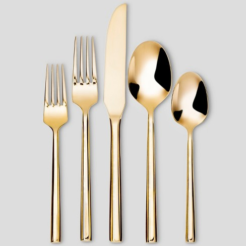 5pc Stainless Steel Izon Mirror Flatware Set Gold - Project 62™ - image 1 of 4