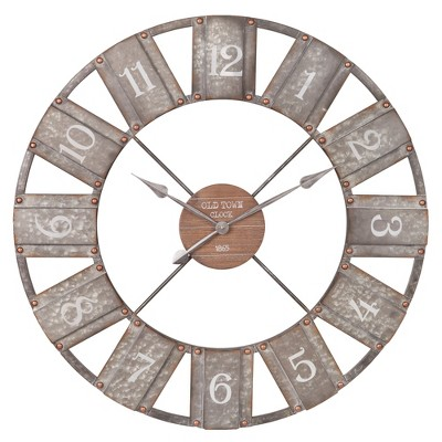 36  Galvanized Metal and Wood Windmill Clock Silver - Patton Wall Decor