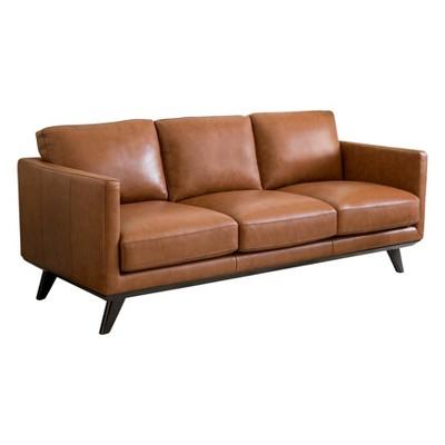 Woodbury Mid Century Top Grain Leather Sofa Camel   Abbyson Living : Target