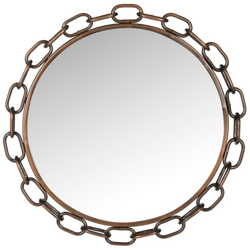 Round Atlantis Chainlink Decorative Wall Mirror Copper - Safavieh - image 1 of 3