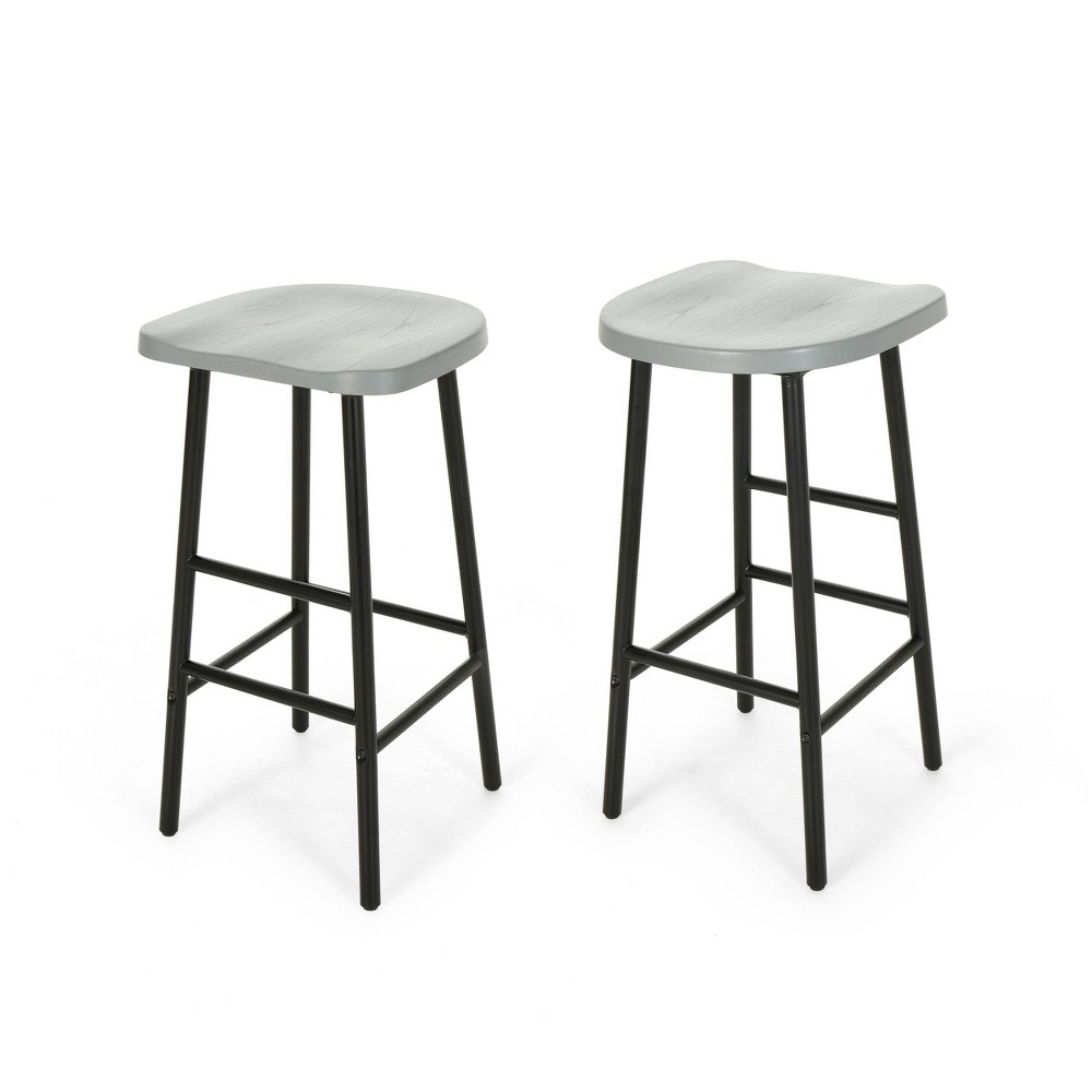 Phenomenal Merlyne Set Of 2 Iron Frame Barstool Grayblack Christopher Gmtry Best Dining Table And Chair Ideas Images Gmtryco