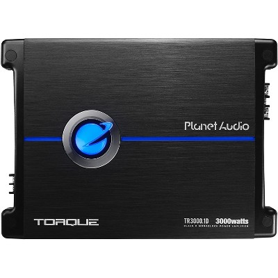 Planet Audio TR3000.1D Torque 3000 Watt Monoblock Class D 1 Ohm Stable Car Audio Amplifier with MOSFET Power Supply and Remote Subwoofer Control