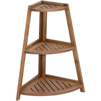Teal Island Designs Le Petit Jardin Wooden 3-Shelf Indoor-Outdoor Plant Stand