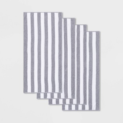4pk Cabana Striped Beach Towel Set Gray - Sun Squad™