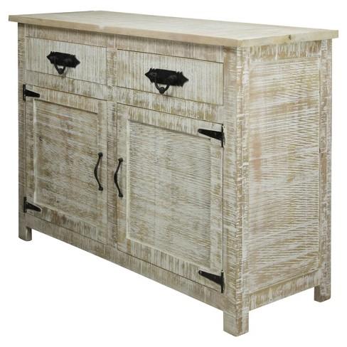 Solid Mango Wood 2 Door Storage Cabinet With Draweretal Hardware Distressed White Wash Stylecraft Target