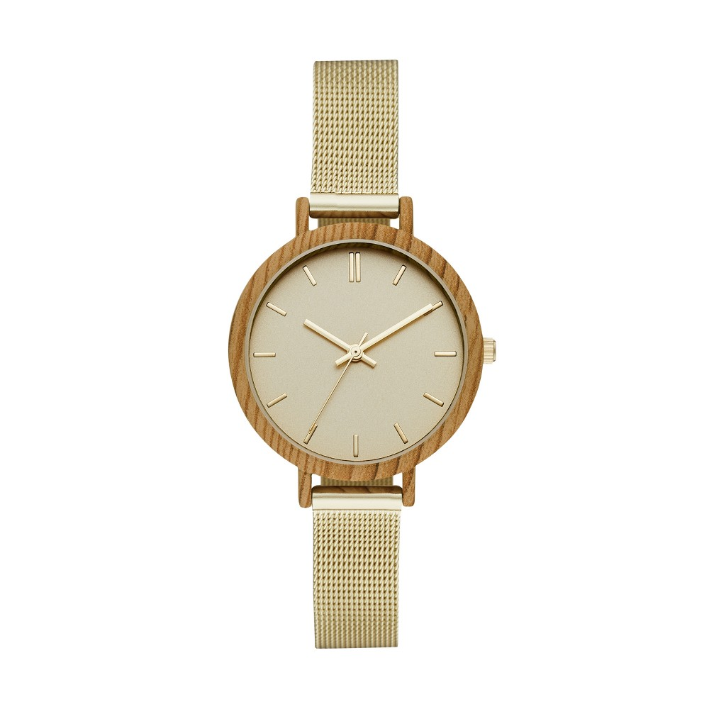 Women's Mesh Strap with Wood Finish Case Watch - A New Day Gold