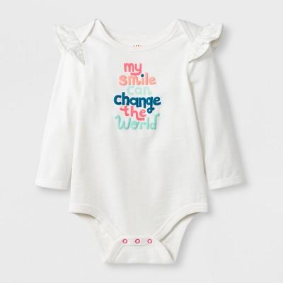 Baby Girls' Long Sleeve My Smile Ruffle Shoulder Bodysuit Set - Cat & Jack™ Cream Newborn