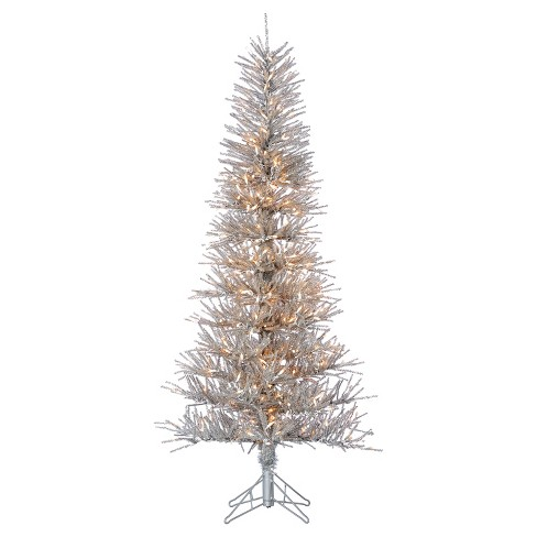 6ft Pre-Lit Artificial Christmas Tree Slim Silver Tinsel Twig Tree Slim -  Clear Lights - 6ft Pre-Lit Artificial Christmas Tree Slim Silver Tinsel Twig Tree