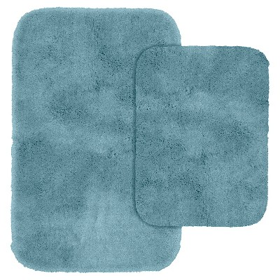 Garland 2 Piece Finest Luxury Ultra Plush Washable Nylon Bath Rug Set - Basin Blue