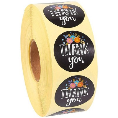 500 Pieces Thank You Adhesive Stickers with Gold Foil 1.5 Inch Thank You Gold Foil Labels Roll Round Shape Adhesive Stickers Envelope Sealing Decorations for Business Shop Wrapping Supplies 4 Styles