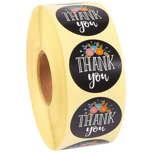 Juvale Thank You Stickers 1 Roll Of 1000 Count 1 5 Inches Round Circle Floral Themed Print Seal Label By Target