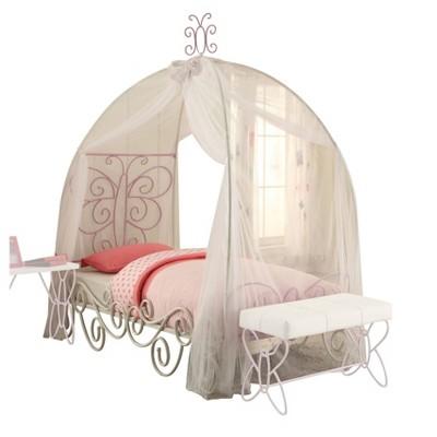 Twin Priya II Bed with Canopy White/Light Purple - Acme Furniture