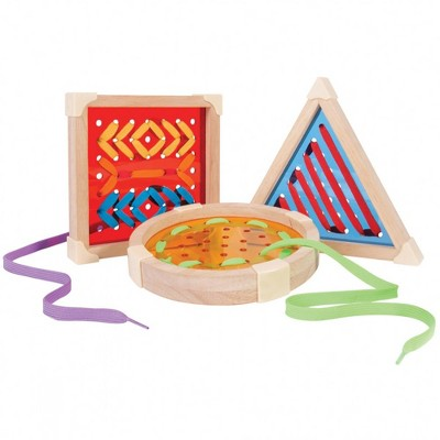Guidecraft Over-sized Geo Lacing Boards Shapes - Set of 3