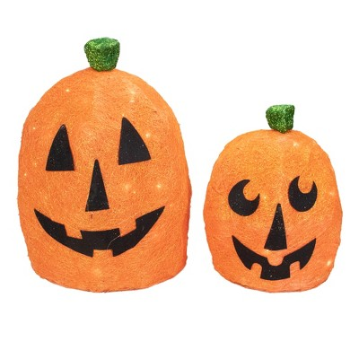Northlight Set of 2 Orange Lighted Sisal Pumpkins Outdoor Halloween Decorations