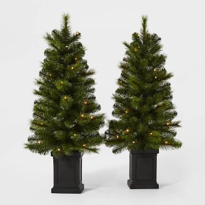 2ct/3.5ft Pre-lit Artificial Christmas Tree Potted Douglas Fir Clear Lights - Wondershop™