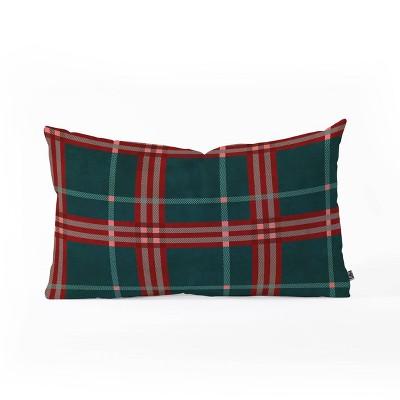"""14""""x23"""" Oversize Emanuela Carratoni Tartan Theme Lumbar Throw Pillow Red/Green - Deny Designs"""