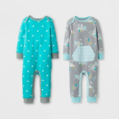 Baby Boys' 2pk Coverall Set Cloud Island™ - Blue/Gray 3-6M