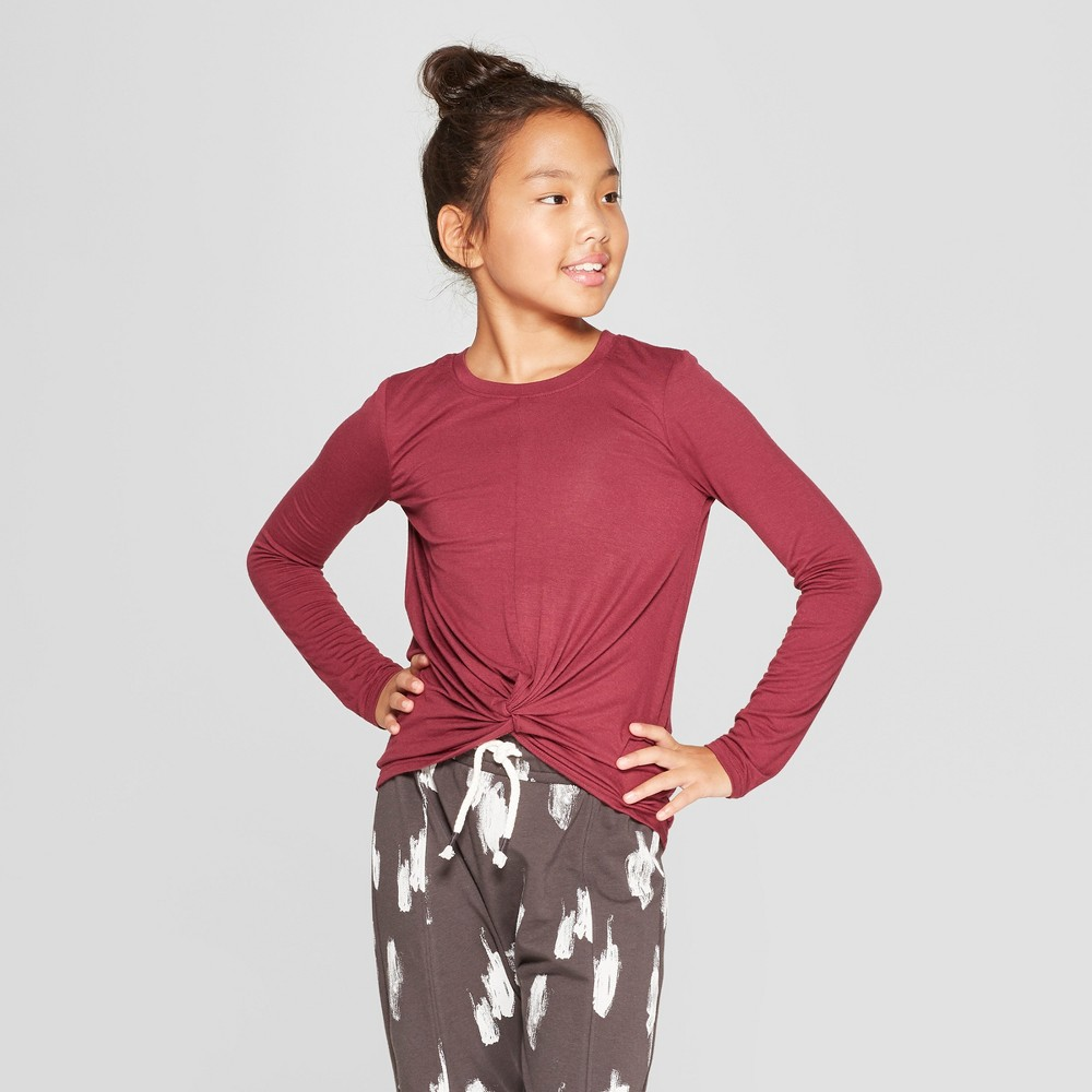 Girls' Long Sleeve Tie Knot Front T-Shirt - art class Maroon (Red) XL