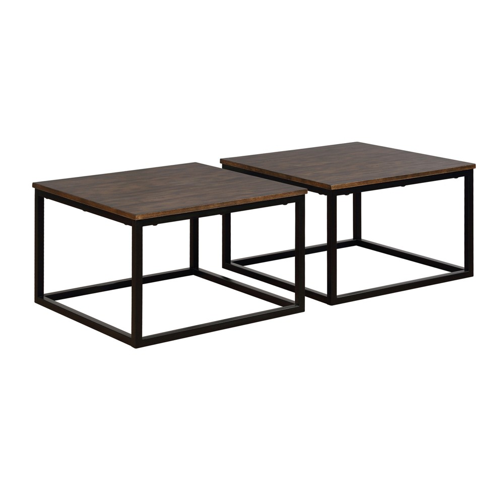 "Image of ""27.5"""" Set Of 2 Arcadia Acacia Wood Square Coffee Tables Antiqued Mocha - Alaterre Furniture, Brown"""
