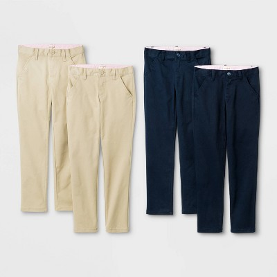 Girls' 4pk Flat Front Stretch Uniform Skinny Pants - Cat & Jack™ Khaki/Navy
