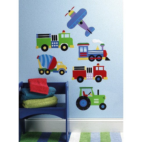 Wallies® Peel and Stick Wall Decal - OK Trains, Planes & Trucks - image 1 of 1