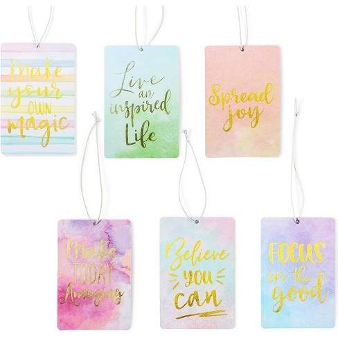 Zodaca 6 Pack Vanilla Scented Car Air Freshener with Inspirational Quotes - image 1 of 4