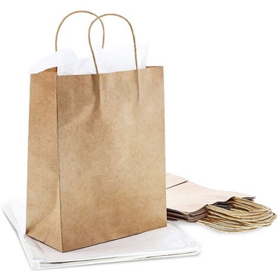 Genie Crafts 60-Pack White Tissue Paper with 12 Medium Kraft Gift Bags with Handles, 10.5 x 8 x 4 in