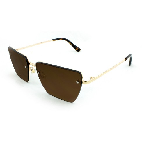 34b5d894ae Women s Rimless Rectangle Sunglasses With Brown Lenses - A New Day™ Gold    Target