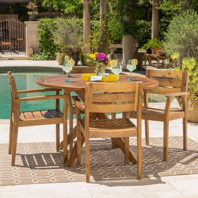 Stamford 5pc Acacia Wood Dining Set - Christopher Knight Home