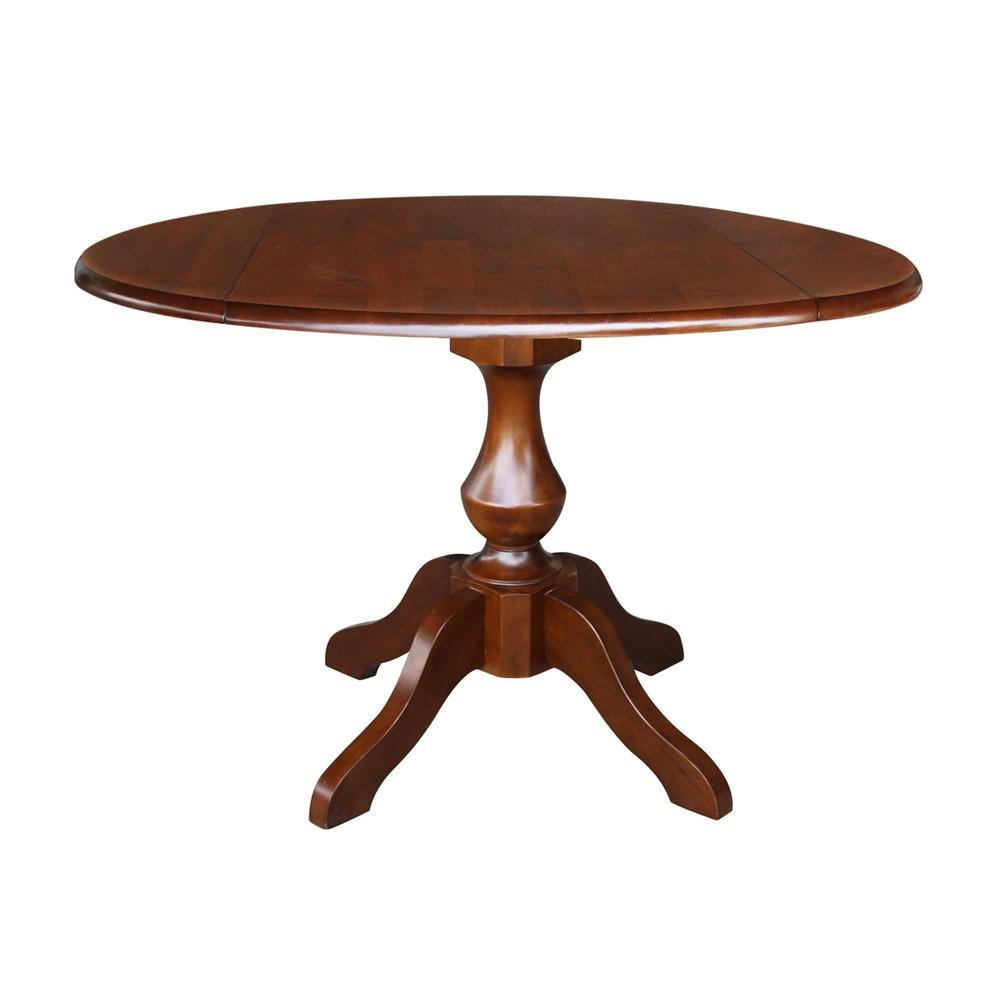 "Image of ""30.3"""" Dinah Round Top Dual Drop Leaf Pedestal Table Espresso Brown - International Concepts"""