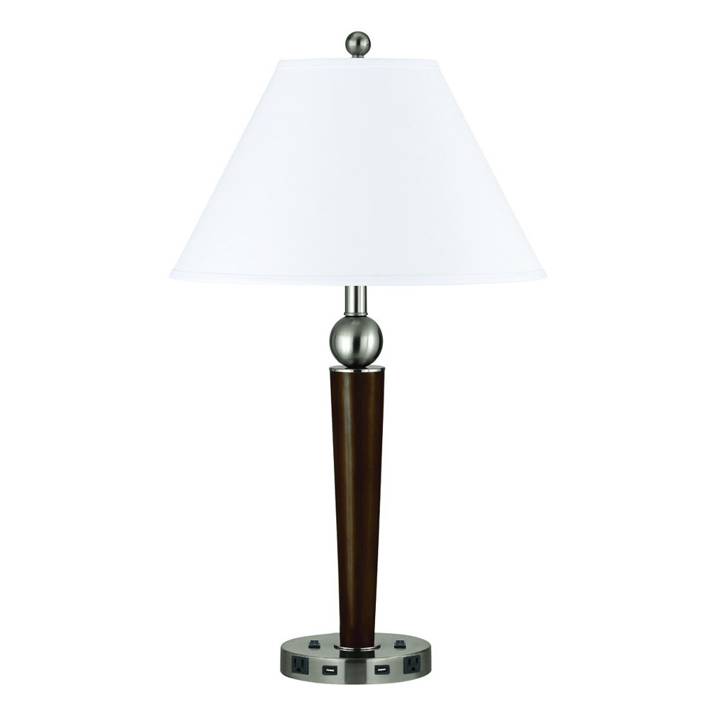 Image of 60W X 2 Metal Single Rod Night Stand Lamp Black (Lamp Only) - Cal Lighting