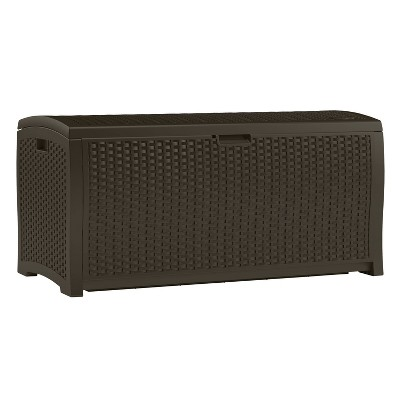 Deck Box Resin Wicker 99 Gallon - Brown - Suncast