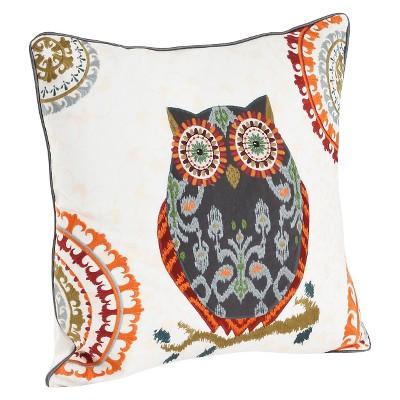 Gray Owl Design Throw Pillow (18 x18 )Saro Lifestyle