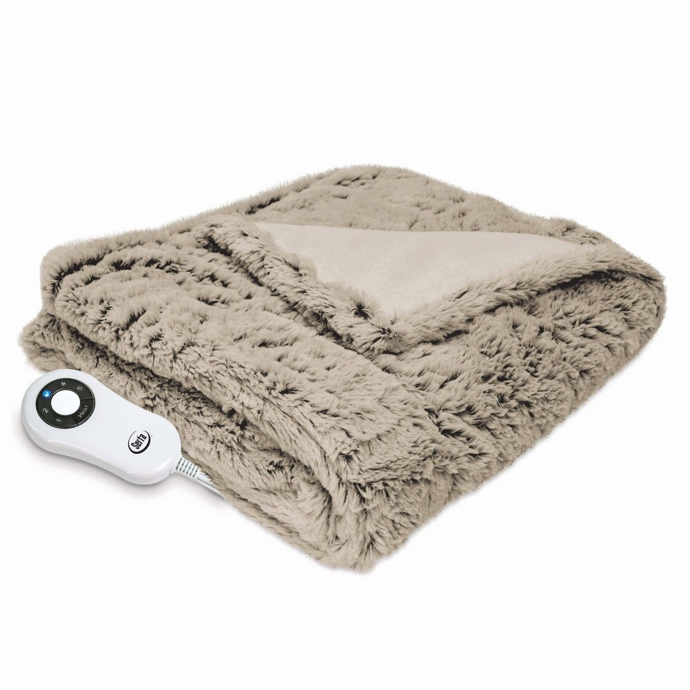 "Image of ""50"""" x 60"""" Frosted Faux Fur Electric Throw Blanket Taupe - Serta, Beige"""