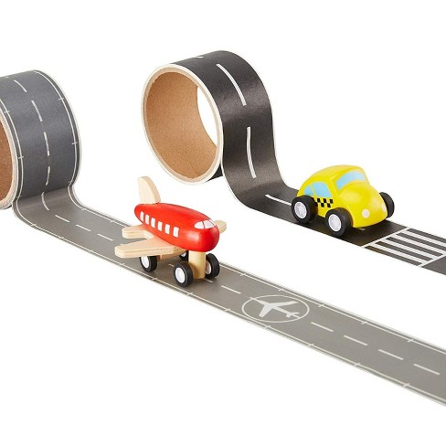 Blue Panda Road Tape and Toy Set - 4-Piece Play Race Track Tape with Wooden Vehicle Toys - Car Track Tape Road Builder Set for Kids, 1.85 Inches Wide - image 1 of 4