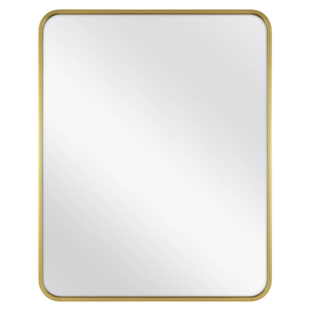 """Image of """"24"""""""" x 30"""""""" Rectangular Decorative Wall Mirror with Rounded Corners Brass - Project 62"""""""