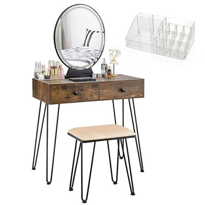 Costway Vanity Makeup Dressing Table W/ 3 Lighting Modes Mirror Touch Switch Rustic\Coffee