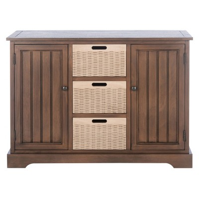 Landers 2 Drawers and 3 Baskets Console Table Brown - Safavieh