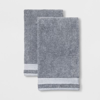 2pk Solid Bath Towel Dark Gray - Made By Design™