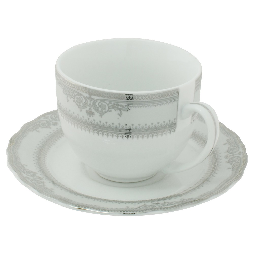 Ten Strawberry Street Vanessa Paltinum Ballet Cup and Saucer Set of 6, White/Silver