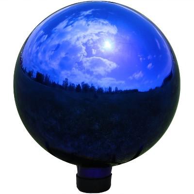 """10""""H Glass Gazing Ball - Mirrored Blue - Sunnydaze Decor"""