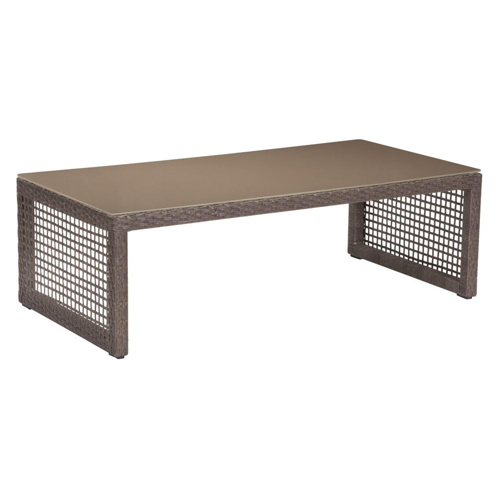 "Image of ""47"""" Modern Cabana Style Rectangular Coffee Table Cocoa - ZM Home, Brown"""