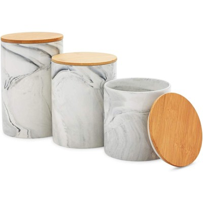 Farmlyn Creek 3 Piece Marble Ceramic Kitchen Canister Sets for Seasoning & Snacks with Bamboo Lids, White, 3 Sizes