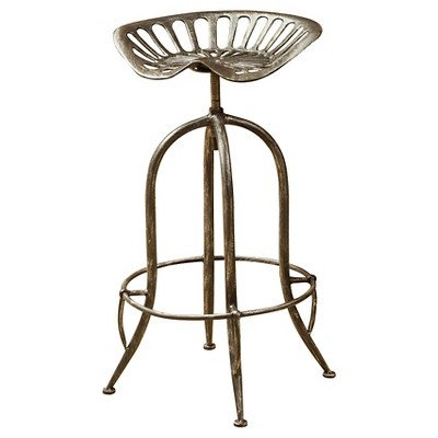 Rancher Adjustable Barstool - Brushed Silver Christopher Knight Home