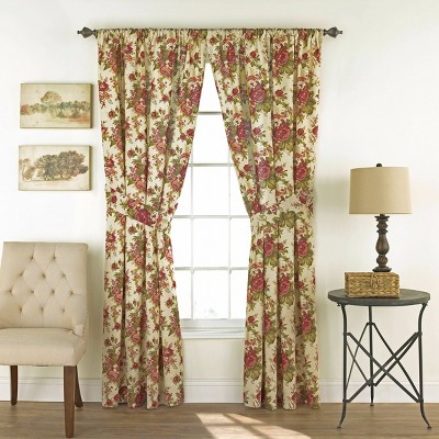 """Set of 2 84""""x100"""" Norfolk Light Filtering Curtain Panel Off White/Red - Waverly"""