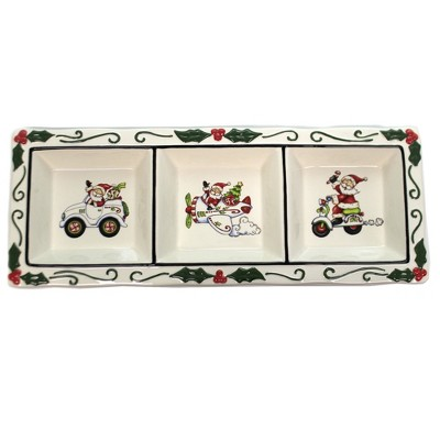 "Tabletop 6.0"" I Believe 3-Section Dish Christmas Santa Laurie Furnell Cosmos Gifts Corp.  -  Serving Bowls"