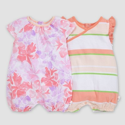 Burt's Bees Baby® Baby Girls' 2pk Market Miracles Bubble Romper Set - 6-9M
