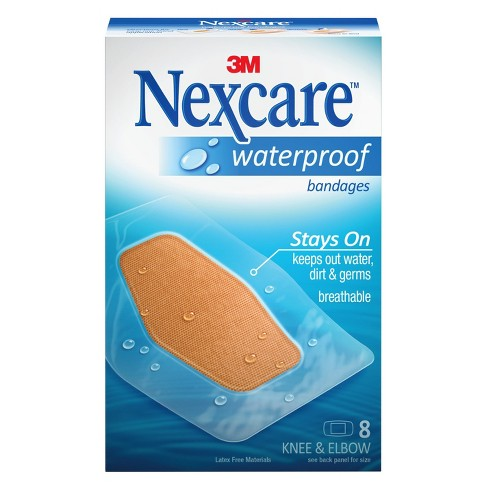 Nexcare Waterproof Bandages Knee and Elbow, Clear, 2 3/8 in x 3 1/2 in, 8 ct. - image 1 of 6