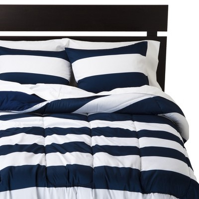 Blue & White Rugby Stripe Comforter (Full/Queen) - Room Essentials , Nighttime Blue